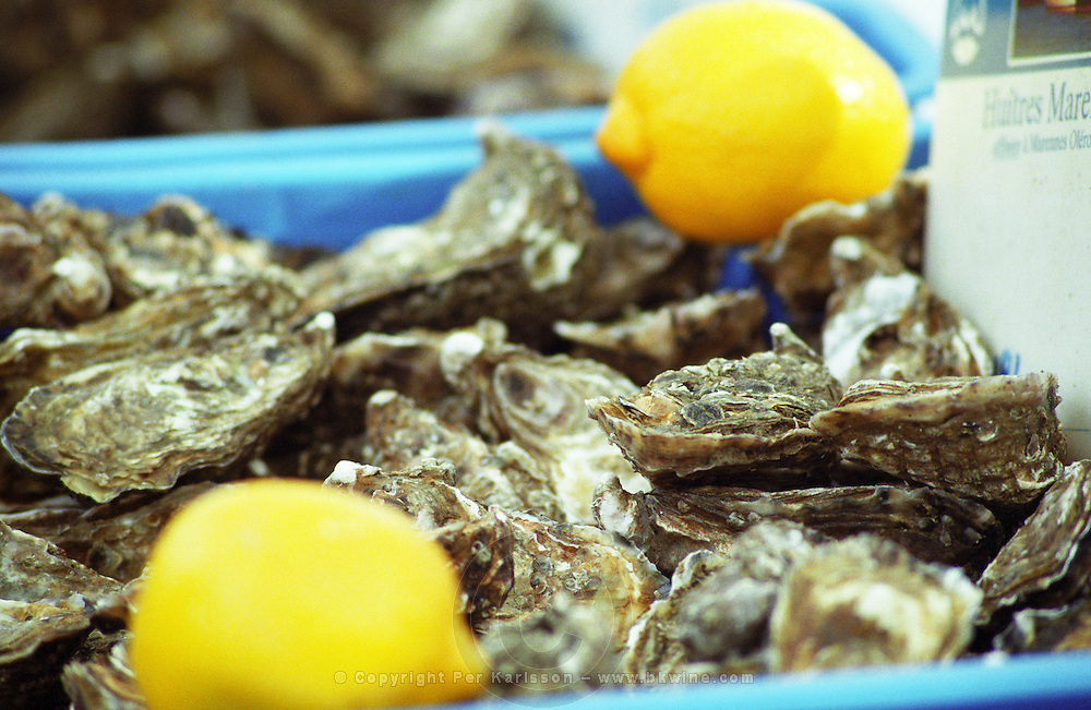 On Quai des Chartrons. A street market. Oysters. On Les Quais. Bordeaux city, Aquitaine, Gironde, France