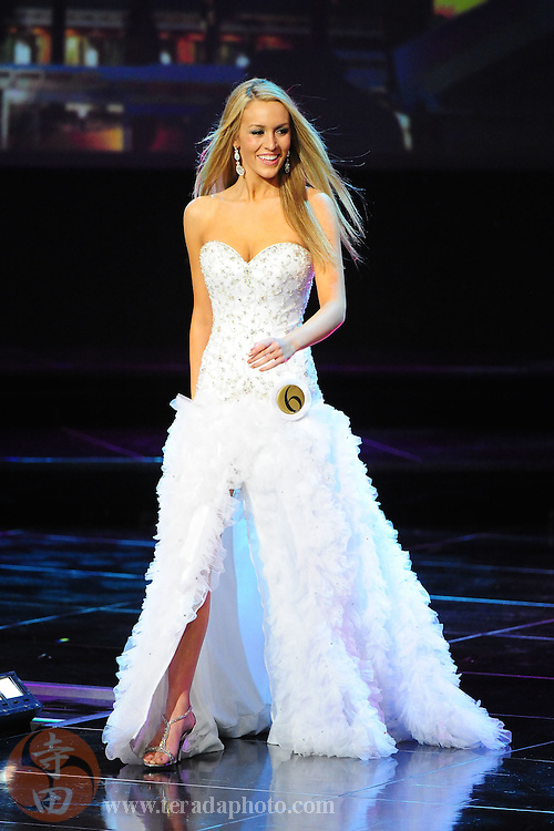 """November 22, 2009; Rancho Mirage, CA, USA; Miss Capital City Teen USA Alexandra Ritschard showcases her evening gown during the top 10 third round of the Miss California Teen USA 2010 Pageant at """"The Show"""" at the Agua Caliente Resort & Spa. Mandatory Credit: Kyle Terada-Terada Photo"""