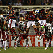 Flamengo defend a free kick during the Flamengo V  Fluminense, Futebol Brasileirao  League match at Estadio Olímpico Joao Havelange, Rio de Janeiro, The classic Rio derby match ended in a 3-3 draw. Rio de Janeiro,  Brazil. 19th September 2010. Photo Tim Clayton.