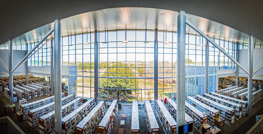The main floor of the new East Baton Rouge Parish library at 771 Goodwood Blvd houses the adult book section including reference, fiction, nonfiction, study rooms and computers. The large, two-story space allows views to Independence Park and allows extensive natural lighting to add to the quality of the environment.