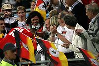 GEPA-0806086253 - KLAGENFURT,AUSTRIA,08.JUN.08 - FUSSBALL - UEFA Europameisterschaft, EURO 2008, Deutschland vs Polen, GER vs POL. Bild zeigt Lukas Podolski (GER) klettert zu den Fans.<br />Foto: GEPA pictures/ Doris Schlagbauer