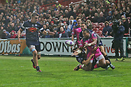Gloucester wing David Halaifonua (11)  passes the ball at the crucial time during the European Rugby Challenge Cup match between Gloucester Rugby and SU Agen at the Kingsholm Stadium, Gloucester, United Kingdom on 19 October 2017. Photo by Gary Learmonth.