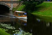 Old wooden canal boat, Riga, Latvia