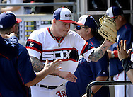 CHICAGO - APRIL 24:  Mat Latos #38 of the Chicago White Sox celebrates with teammates during the game against the Texas Rangers on April 24, 2016 at U.S. Cellular Field in Chicago, Illinois.  The White Sox defeated the Rangers 4-1.  (Photo by Ron Vesely)   Subject: Mat Latos