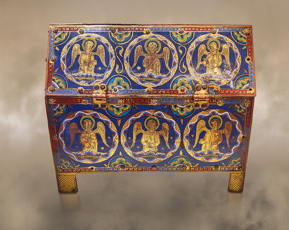Medieval enamelled box depicting angels, circa12th century from Limoges, enamel on gold. AD.  The Louvre Museum, Paris.