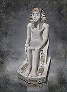 Ancient Egyptian cult statue of Amenhoptep I, limestone, New Kingdom, 19th Dynasty, (1292-1190 BC, Deir el-Medina. Egyptian Museum, Turin. <br /> <br /> The cult of Amenhoptep I flourished during the 19th &20th Dynasties. This statue is typical of Theban sculpture of the Ramesside era : large eyes, full cheeks and aquiline nose. the kings skin colour is white rather than the more common red hue. This is typical of other Deir el-Medina statues of the era.  Drovetti collection. Cat 1372.