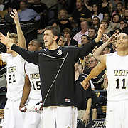 Players from Central Florida react on the bench to a foul call during a Conference USA NCAA basketball game between the Marshall Thundering Herd and the Central Florida Knights at the UCF Arena on January 5, 2011 in Orlando, Florida. Central Florida won the game 65-58 and extended their record to 14-0.  (AP Photo/Alex Menendez)