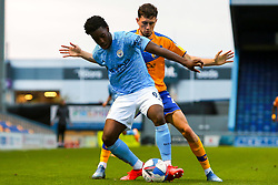 Josh Wilson-Esbrand of Manchester City under pressure from Corey O'Keeffe of Mansfield Town - Mandatory by-line: Ryan Crockett/JMP - 08/09/2020 - FOOTBALL - One Call Stadium - Mansfield, England - Mansfield Town v Manchester City U21 - Leasing.com Trophy