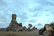 Rough terrain with odd rock formations in a deserted landscape of Tri Ton, An Giang Province, Southern Vietnam, Southeast Asia