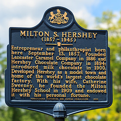 Hershey, PA, USA - June 19, 2013: The Milton Hershey Historical Marker near his birthplace in Hershey, PA.