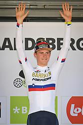 August 19, 2018 - Geraardsbergen, BELGIUM - Slovenian Matej Mohoric of Bahrain-Merida , winner of the Binckbank Tour celebrates on the podium of the final stage of the Binkcbank Tour cycling race, 209,5 km from Lacs de l'Eau d'Heure to Geraardsbergen, Belgium, Sunday 19 August 2018. BELGA PHOTO DAVID STOCKMAN (Credit Image: © David Stockman/Belga via ZUMA Press)