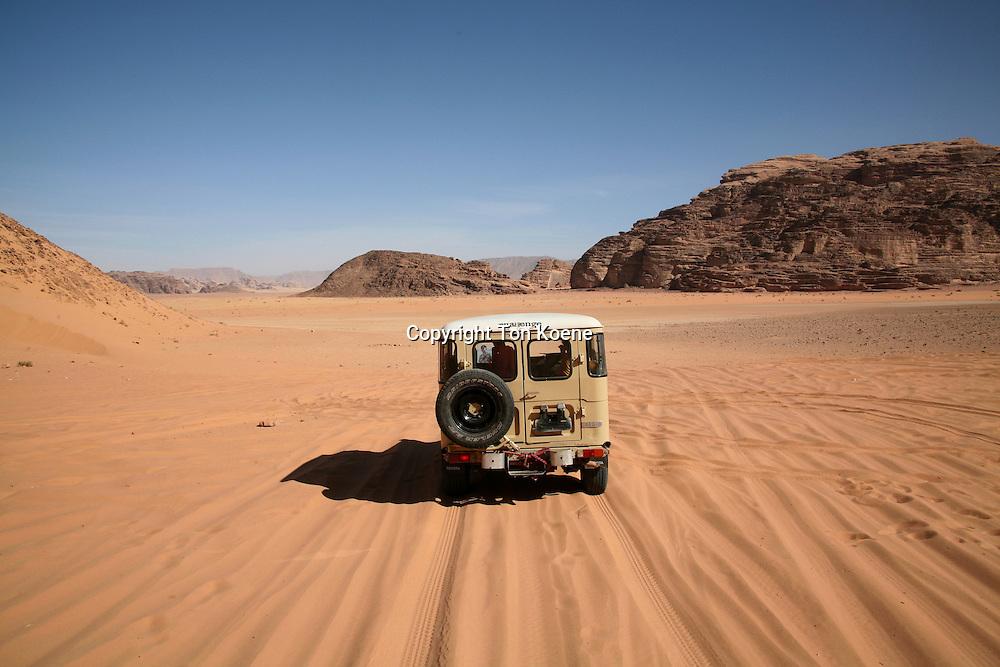 tourists tour Wadi Rum dessert, Jordan