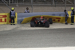 April 7, 2018 - Sakhir, Kingdom of Bahrain - MAX VERSTAPPEN of Aston Martin Red Bull Racing crashes out during the 2018 FIA Formula 1 Bahrain Grand Prix qualifying session at Bahrain International Circuit in Sakhir, Kingdom of Bahrain. (Credit Image: © James Gasperotti via ZUMA Wire)