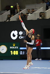 BEIJING, Sept. 29, 2018  Jelena Ostapenko of Latvia serves during the women's singles first round match against Magdalena Rybarikova of Slovakia at China Open tennis tournament in Beijing, China, Sept. 29, 2018. (Credit Image: © Jia Haocheng/Xinhua via ZUMA Wire)