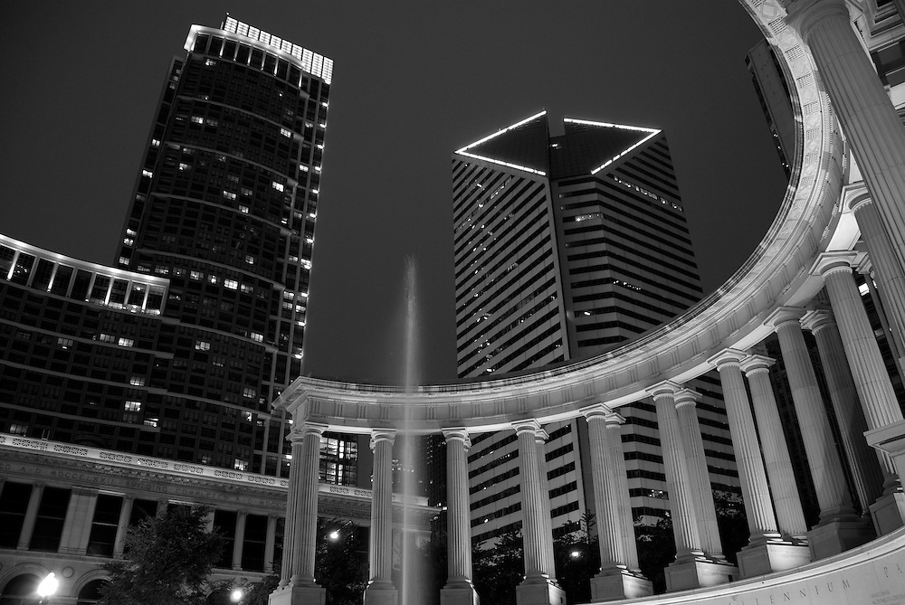 Millennium Park Monument and Buildings over Michigan Avenue in Chicago