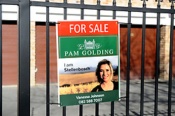 Cape Town-180818 Sign of for sale in the block of flat in Stellenbosch. Stellenbosch has seen a rise in land and farm and property for sale after the  Land expropriation without compensation debate  Pictures Ayanda Ndamane/African/news/agency ANA