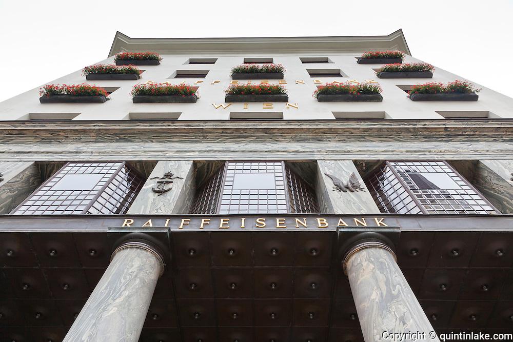 Looshaus, Michaelerplatz, Vienna, Austria. is now occupied by Raiffeisenbank Architect Adolf Loos. Built: 1911