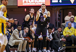 Mar 20, 2019; Morgantown, WV, USA; Grand Canyon Antelopes forward Michael Finke (43) celebrates from the bench during the first half against the West Virginia Mountaineers at WVU Coliseum. Mandatory Credit: Ben Queen