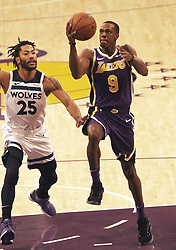 November 7, 2018 - Los Angeles, California, U.S - Ramon Rondo #9 of the Los Angeles Lakers goes for a layup past Derrick Rose #25 of the Minneapolis Timberwolves during their NBA game on Wednesday November 7, 2018 at the Staples Center in Los Angeles, California. Lakers defeat Timberwolves, 114-110. (Credit Image: © Prensa Internacional via ZUMA Wire)