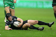 Dan Evans of Ospreys in action. Guinness Pro12 rugby match, Ospreys v Connacht rugby at the Liberty Stadium in Swansea, South Wales on Saturday 7th January 2017.<br /> pic by Andrew Orchard, Andrew Orchard sports photography.