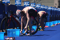 Lucy Hall of Great Britain in the transition during the Elite Women race of the Discovery Triathlon World Cup Cape Town leg held at Green Point in Cape Town, South Africa on the 11th February 2017.<br /> <br /> Photo by Shaun Roy/RealTime Images