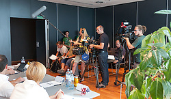 19.08.2012, Messestadion, Dornbirn, AUT, EBEL, Dornbirner Eishockey Club, DEC Media Days 2012, DEC Media Days 2012, Pressekonferenz, im Bild Presse bei der Vorstellung der Struktur des Dornbirner Eishockey Club // during a press conference of DEC Media Days 2012 of Erste Bank Icehockey League Team, Dornbirner Icehockey club at the Messestadion, Dornbirn, Austria, 2012/08/19, EXPA Pictures © 2012, PhotoCredit: EXPA/ Peter Rinderer