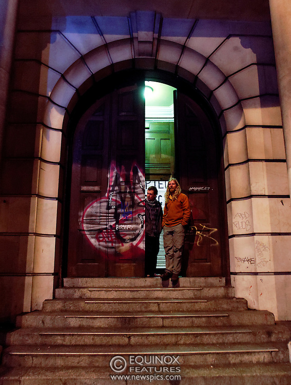 London, United Kingdom - 20 December 2011.Occupy protesters at their new camp Occupy Justice. The campaigners who have camps at St Pauls and Finsbury Square occupied the Old Street Magistrates Court, Shoreditch, London, England, UK. The court has been disused since 1996 although in recent years there have been plans to turn it into a hotel..Copyright: ©2011 Equinox Licensing Ltd. +448700 780000 - Contact: Equinox Features - Date Taken: 20111220 - Time Taken: 171732+0000 - www.newspics.com