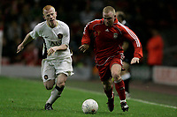 Fotball<br /> England<br /> Foto: Propaganda/Digitalsport<br /> NORWAY ONLY<br /> <br /> Liverpool, England - Monday, April 16, 2007: Liverpool's Raymond Putterill and Manchester United's Richard Eckersley during the FA Youth Cup Final 1st Leg at Anfield.