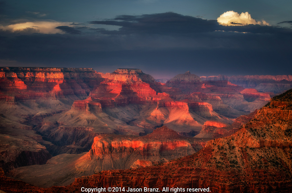 Summer monsoon thunderstorm near the Grand Canyon, Arizona.