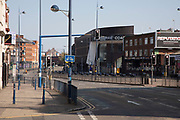 Digbeth in Birmingham city centre eerily quiet and deserted under lockdown due to Coronavirus on 24th April 2020 in Birmingham, England, United Kingdom. Coronavirus or Covid-19 is a new respiratory illness that has not previously been seen in humans. While much or Europe has been placed into lockdown, the UK government has extended stringent rules as part of their long term strategy, and in particular social distancing, which has left usually bustling areas like a ghost town.
