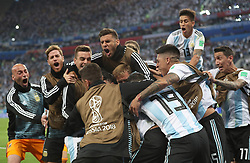 SAINT PETERSBURG, June 26, 2018  Players of Argentina celebrate Marcos Rojo's goal during the 2018 FIFA World Cup Group D match between Nigeria and Argentina in Saint Petersburg, Russia, June 26, 2018. Argentina won 2-1 and advanced to the round of 16. (Credit Image: © Yang Lei/Xinhua via ZUMA Wire)