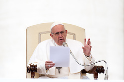 Pope Francis speaks during the Wednesday general audience in Saint Peter's square at the Vatican.