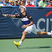 KEI NISHIKORI of Japan plays against Marin Cilic of Croatia  at Day 6 of the Citi Open at the Rock Creek Tennis Center in Washington, D.C. Nishikori won in 3 sets.