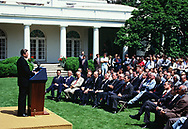 President Ronald Reagan announces his decision of Arms Negotiations in the Rose Garden on June 8, 1983<br />Photo by Dennis Brack