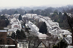 © Licensed to London News Pictures. 05/12/2012.Snow in South East London this morning (05.12.2012).As temperatures drop in the southeast the borough of Bromley gets a blanket of snow. Snow covered homes in Orpington near to the High Street..Photo credit : Grant Falvey/LNP