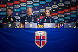 October 12, 2018 - Oslo, NORWAY - 181012 Stefan Johansen of Norway, Lars LagerbÅck, head coach of Norway, and Svein Graff, communications director of the Norwegian Football Association (NFF), during a press event on October 12, 2018 in Oslo..Photo: Jon Olav Nesvold / BILDBYRN / kod JE / 160328 (Credit Image: © Jon Olav Nesvold/Bildbyran via ZUMA Press)