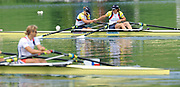 Lucerne, Switzerland.  GBR W2X, Bow,  Anna WATKINS [BEBINGTON] and Kathrine GRAINGER. celebrate, winning the gold Medal,  Women's double sculls. 2010 FISA World Cup. Lake Rotsee, Lucerne.  09:10:32   Sunday  11/07/2010.  [Mandatory Credit Peter Spurrier/ Intersport Images]