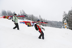 Workers after cancellation of the 1st Run of 50th Golden Fox Audi Alpine FIS Ski World Cup Ladies Giant Slalom, on February 1, 2014 in Podkoren, Kranjska Gora, Slovenia. (Photo By Matic Klansek Velej / Sportida.com)