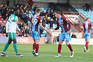 GOAL Scunthorpe United forward Lee Novak (17) scores a goal and celebrates to make it 1-2 during the EFL Sky Bet League 1 match between Scunthorpe United and Plymouth Argyle at Glanford Park, Scunthorpe, England on 27 October 2018. Pic Mick Atkins