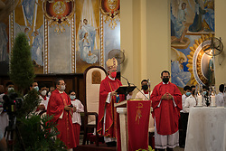 Bishop Angel Garachana gives a mass in the Cathedral of San Pedro Sula, Honduras.