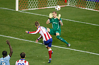 Atletico de Madrid´s Griezmann and Malmo´s goalkeeper Olsen during Champions League soccer match between Atletico de Madrid and Malmo at Vicente Calderon stadium in Madrid, Spain. October 22, 2014. (ALTERPHOTOS/Victor Blanco)