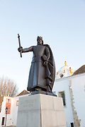 Statue of King Alfonso III ( 1210-1279) in the old town are of Faro, Algarve, Portugal