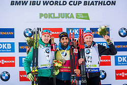 Johannes Kuehn (GER), Martin Fourcade (FRA) and Simon Eder (AUT) during Flower ceremony after the Men 20km Individual at day 5 of IBU Biathlon World Cup 2018/19 Pokljuka, on December 6, 2018 in Rudno polje, Pokljuka, Pokljuka, Slovenia. Photo by Ziga Zupan / Sportida