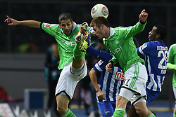 Football: Germany, 1. Bundesliga, Berlin, 16.02.2014<br />Ricardo Rodriguez and Robin Knoche (VFL Wolfsburg) - Adrian Ramos (Hertha BSC Berlin)<br /> copyright: pixathlon