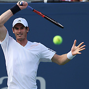 Andy Murray, Great Britain, in action during his Men's singles first round victory against Alex Bogomolov, Russia, during the US Open Tennis Tournament, Flushing, New York. USA. 27th August 2012. Photo Tim Clayton