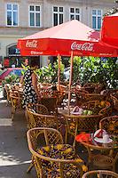 Cafe tables on the Rynek Market Square in Krakow Poland