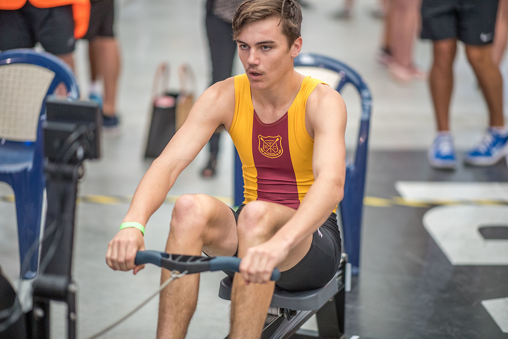 Leo Booth MALE HEAVYWEIGHT U16 2K Race #5 09:30am<br /> <br /> <br /> www.rowingcelebration.com Competing on Concept 2 ergometers at the 2018 NZ Indoor Rowing Championships. Avanti Drome, Cambridge,  Saturday 24 November 2018 © Copyright photo Steve McArthur / @RowingCelebration