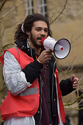 © Licensed to London News Pictures. 09/03/2016 Andre Dallas outside Oriel College. Speeches and songs. Rhodes must fall demonstration and march through Oxford. Protest outside Oriel College followed by a march through the streets of Oxford. Photo credit : MARK HEMSWORTH/LNP