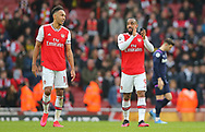 Arsenal's Pierre-Emerick Aubameyang and Alexandre Lacazette celebrate after their team win the Premier League match at the Emirates Stadium, London. Picture date: 7th March 2020. Picture credit should read: Paul Terry/Sportimage