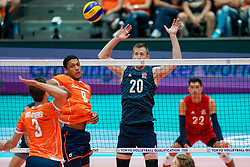 11-08-2019 NED: FIVB Tokyo Volleyball Qualification 2019 / Netherlands - USA, Rotterdam<br /> Final match pool B in hall Ahoy between Netherlands vs. United States (1-3) and Olympic ticket  for USA / Maarten van Garderen #3 of Netherlands, Fabian Plak #8 of Netherlands, David Smith #20 of USA